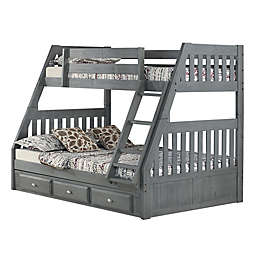 Discovery World Furniture Twin Over Full Bunk Bed With Drawers In Charcoal