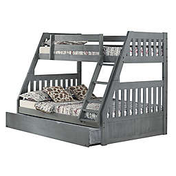 Discovery World Furniture™ Twin Over Full Bunk Bed with Trundle in Charcoal
