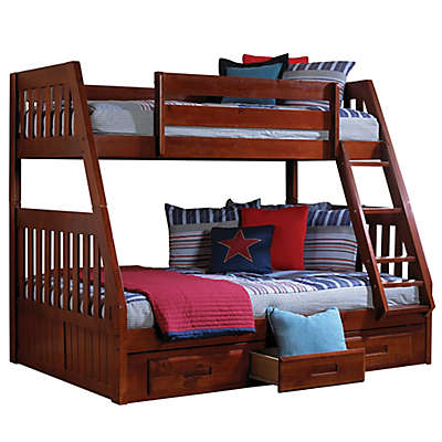 Discovery World Furniture™ Twin Over Full Bunk Bed with Drawers in Merlot