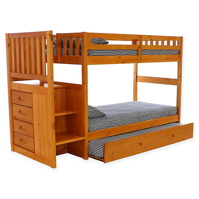 Alternate image 1 for Discovery World Furniture™ Stair Stepper Bunk Bed with Trundle