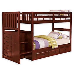 Discovery World Furniture™ Stair Stepper Bunk Bed with Drawers
