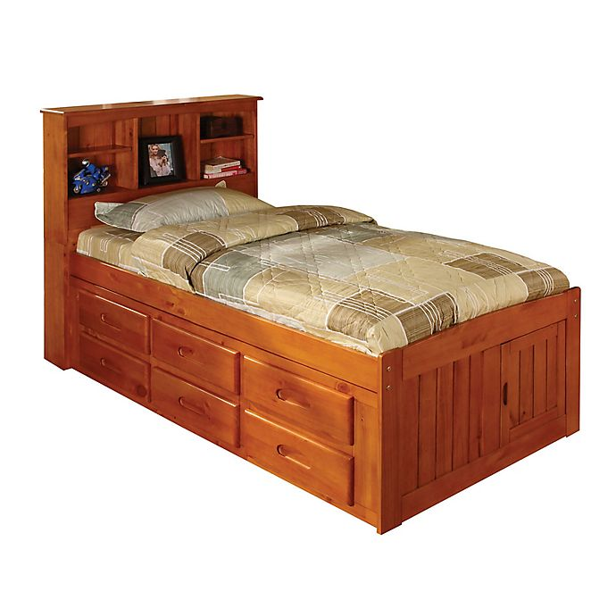 Alternate image 1 for Discovery World Furniture™ Twin Bookcase Captain's Bed with 12 Drawers in Merlot