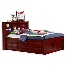 Discovery World Furniture™ Twin Bookcase Captain's Bed with 6 Drawers
