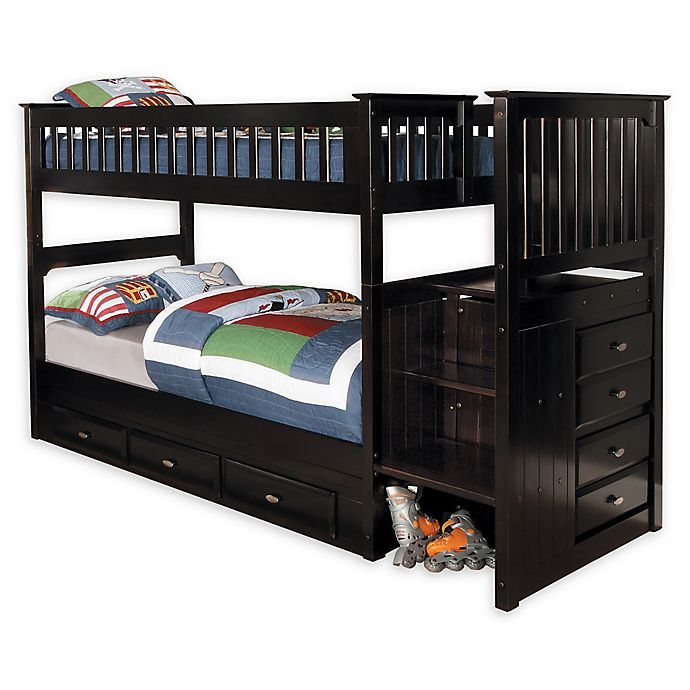 Alternate image 1 for Discovery World Furniture™ Twin Over Twin Stair Stepper Bunk Bed with Drawers