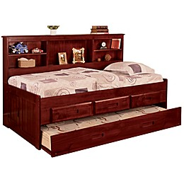 Discovery World Furniture Daybed with Drawers and Trundle in Merlot