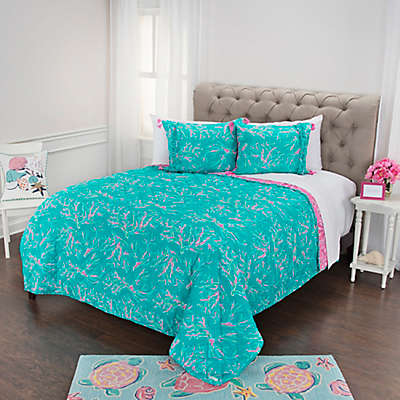 Simply Southern Seashell and Coral Reversible Quilt Set