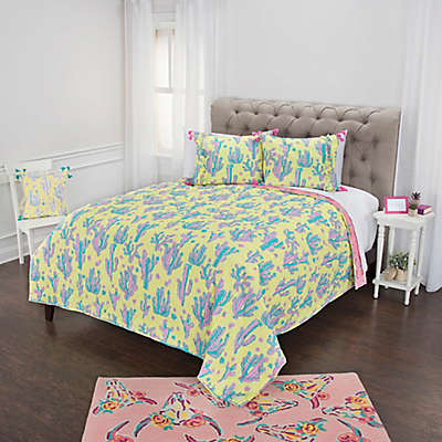 Simply Southern Cow Skull and Cactus Print Reversible Quilt Set