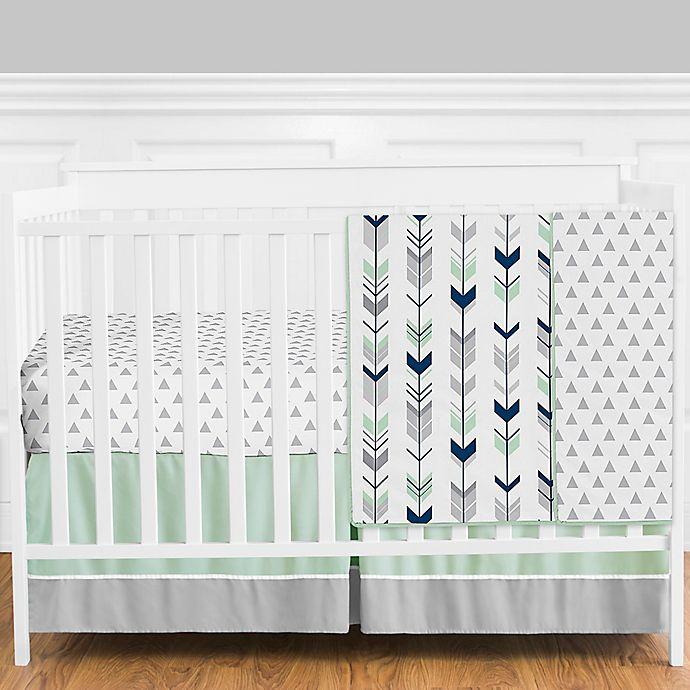 Alternate image 1 for Sweet Jojo Designs® Mod Arrow 4-Piece Crib Bedding Set in Grey/Blue