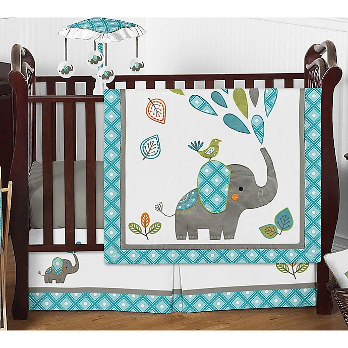 Alternate image 1 for Sweet Jojo Designs Mod Elephant 4-Piece Crib Bedding Set in Teal/Green