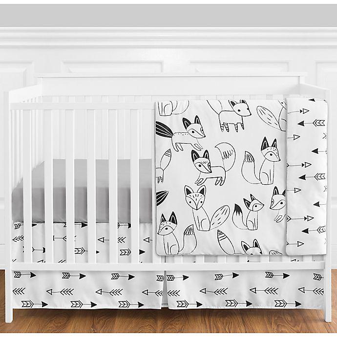 Alternate image 1 for Sweet Jojo Designs® Fox 4-Piece Crib Bedding Set in Grey/Black