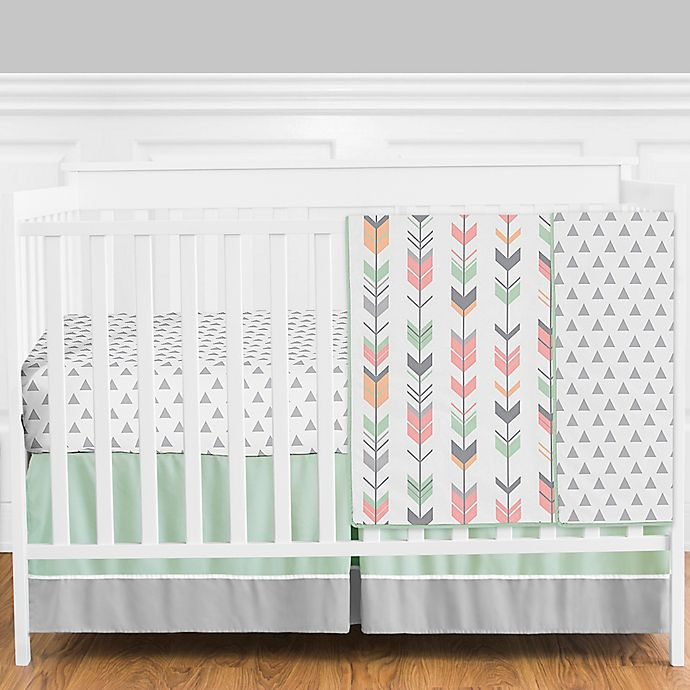 Alternate image 1 for Sweet Jojo Designs Mod Arrow 4-Piece Crib Bedding Set in Mint/Coral