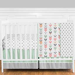 Sweet Jojo Designs Mod Arrow 4-Piece Crib Bedding Set in Mint/Coral