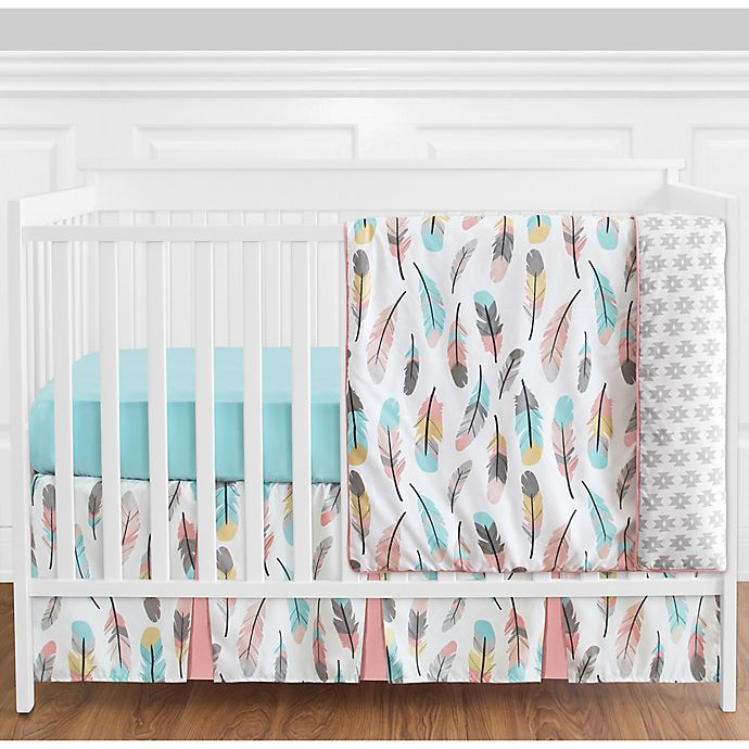 Alternate image 1 for Sweet Jojo Designs Feather 4-Piece Crib Bedding Set in Coral/Turquoise