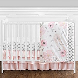 Sweet Jojo Designs® Watercolor Floral 4-Piece Crib Bedding Set in Pink/White