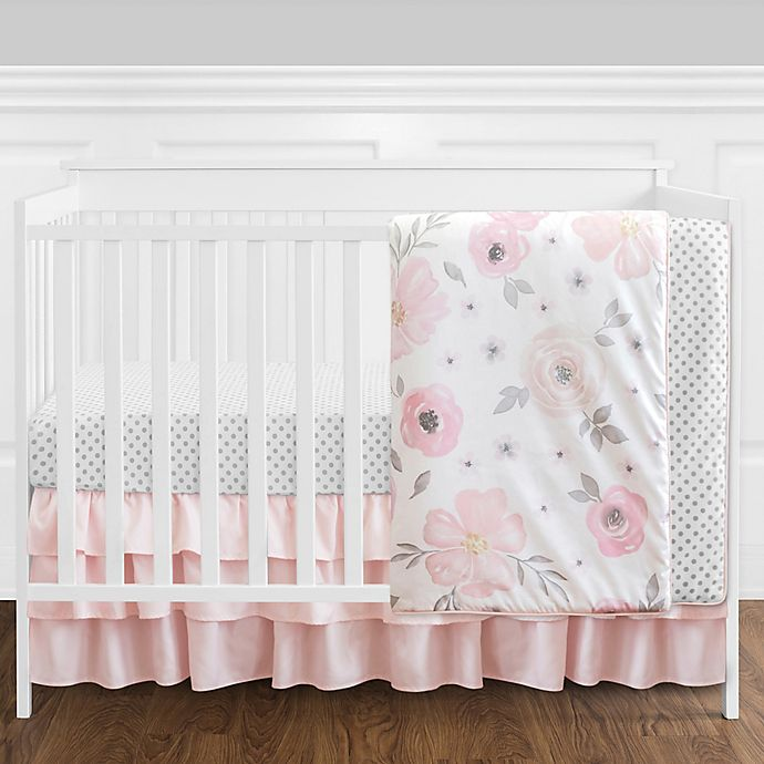Alternate image 1 for Sweet Jojo Designs® Watercolor Floral 4-Piece Crib Bedding Set in Pink/White