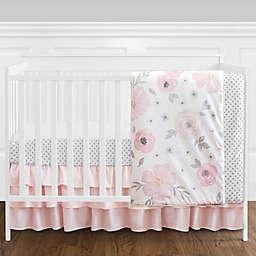 Sweet Jojo Designs® Watercolor Floral 4-Piece Crib Bedding Set in Pink/White