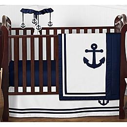 Sweet Jojo Designs Anchors Away 4-Piece Nautical Crib Bedding Set in Navy Blue/White