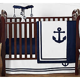 Sweet Jojo Designs Anchors Away 4-Piece Nautical Crib Bedding Set in Navy Blue/White