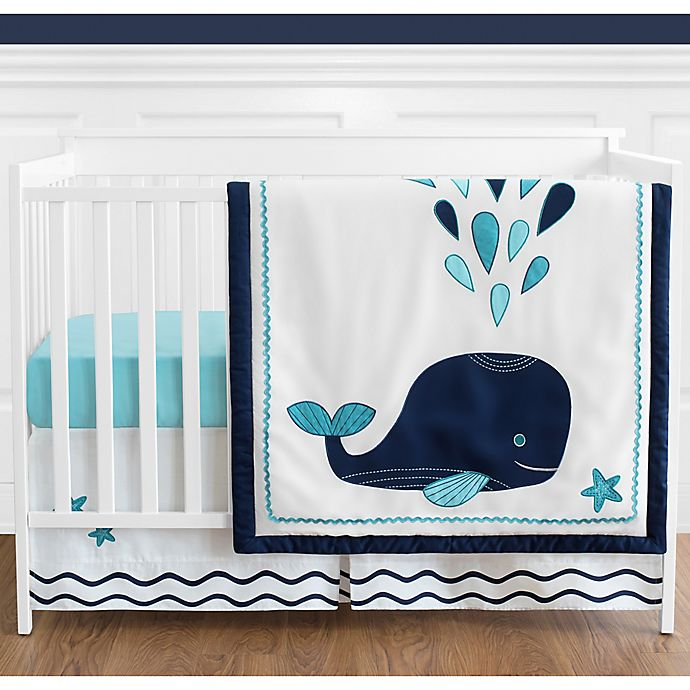 Alternate image 1 for Sweet Jojo Designs Whale 4-Piece Crib Bedding Set in Blue/Turquoise