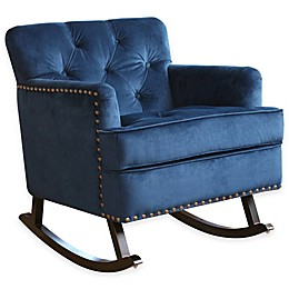 Abbyson Living® Velvet Rocker with Nailhead Trim