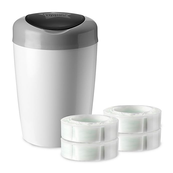 Alternate image 1 for Tommee Tippee Simplee Diaper Pail in Grey with 4-Count Refill Cartridge