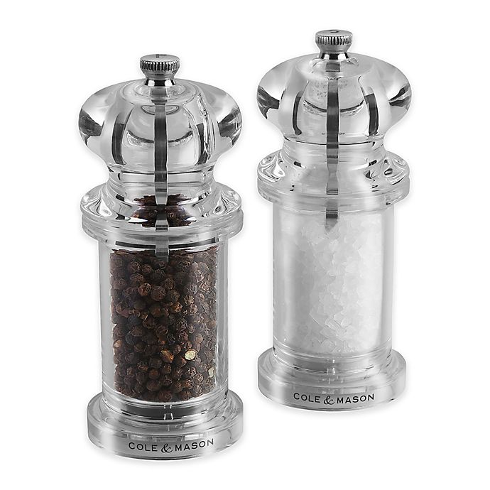 Alternate image 1 for Cole & Mason Plastic 2-Piece 505 Salt/Pepper Mill Set in Clear