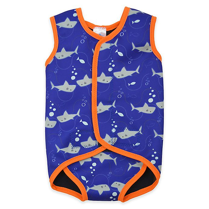 Alternate image 1 for Splash About BabyWrap Shark Size 12-24M Wetsuit in Blue
