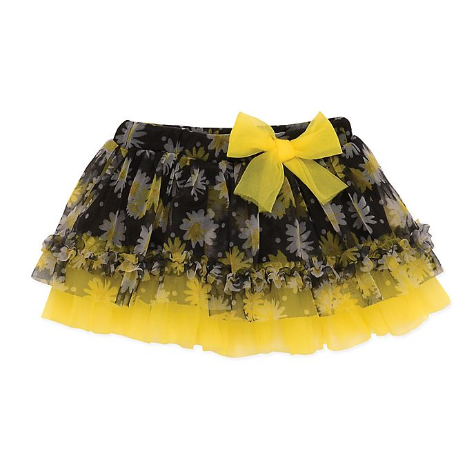 Alternate image 1 for Baby Starters® Daisy Print Bow Tutu in Black/Yellow