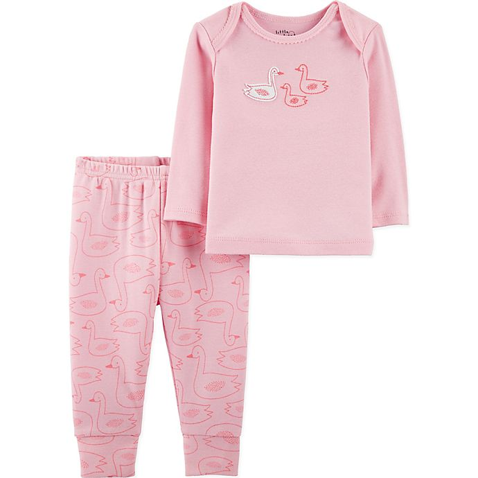 Alternate image 1 for Little Planet™ Organic by carter's® Newborn 2-Piece Swans Pajama Set in Pink