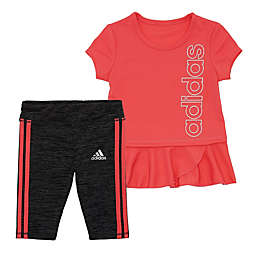 Adidas® 3T 2-Piece Capri Legging and Top Set Collection in Coral