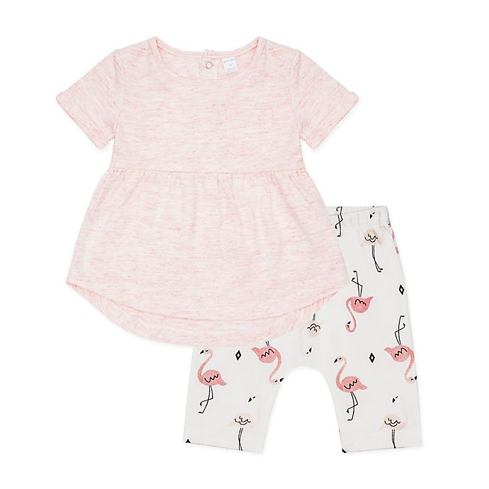 Alternate image 1 for Petit Lem™ 2-Piece Flamingo Tunic and Cropped Legging Set in Coral