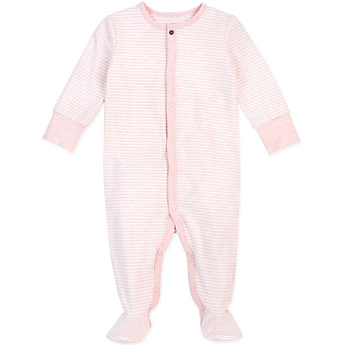 Alternate image 1 for Petit Lem® Striped Organic Cotton Footie in Pink