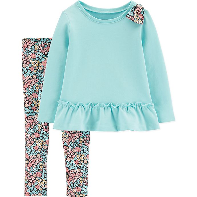 Alternate image 1 for carter's® Floral Pant Set with Shoulder Bow in Mint