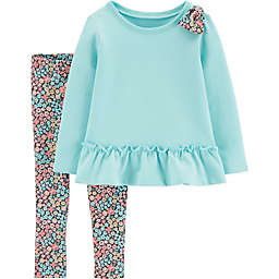 carter's® Floral Pant Set with Shoulder Bow in Mint