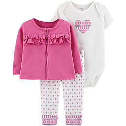 carter's® 3-Piece Medallion Heart Bodysuit, Cardigan and Pant Set