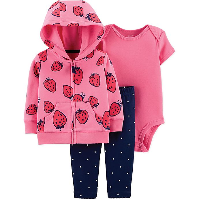 Alternate image 1 for carter's® 3-Piece Strawberry Bodysuit, Cardigan and Pant Set