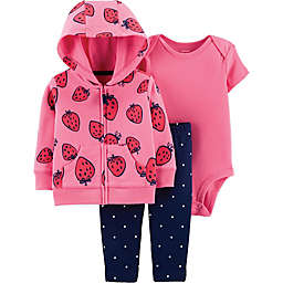 carter's® 3-Piece Strawberry Bodysuit, Cardigan and Pant Set