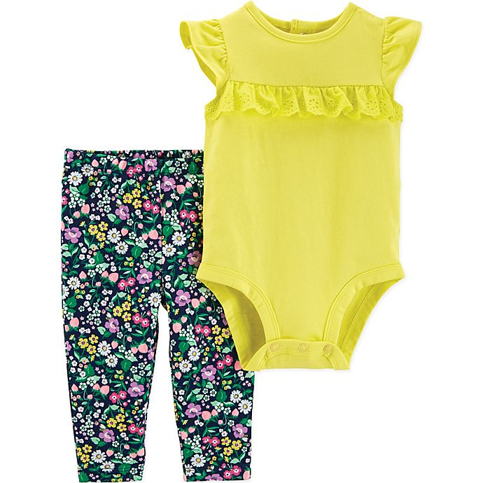 Alternate image 1 for carter's® 2-Piece Flutter Bodysuit and Pant Set in Yellow