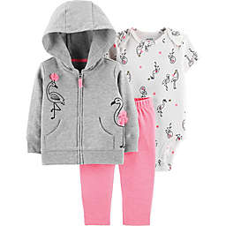 carter's® 3-Piece Flamingo Hoodie, Bodysuit, and Pant Set in Grey