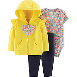 carter's® 3-Piece Floral Heart Hoodie, Bodysuit, and Pant Set in Yellow