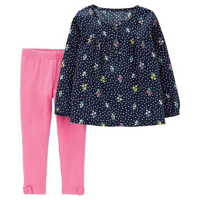 Alternate image 1 for carter's® 2-Piece Flower Bouquet Top and Legging Set in Navy/Pink