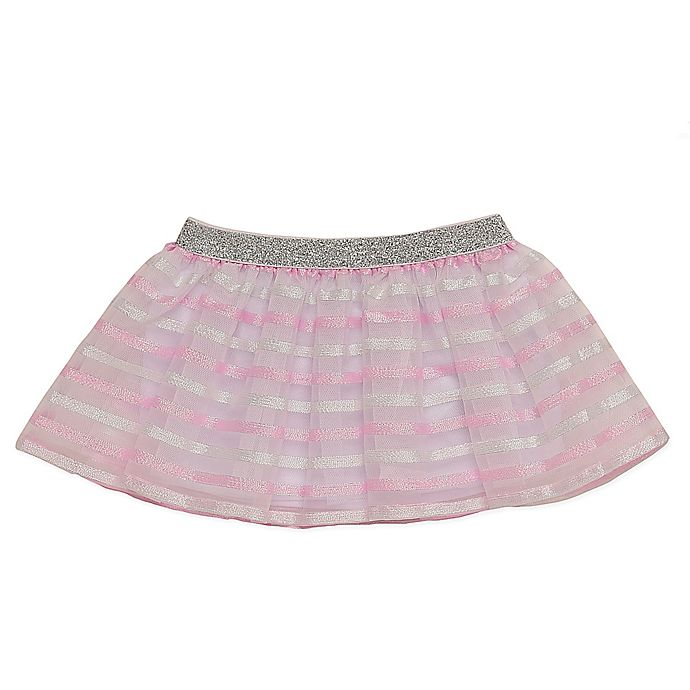 Alternate image 1 for Baby Starters® Size 3M Stripes Tutu Skirt in Pink/Silver