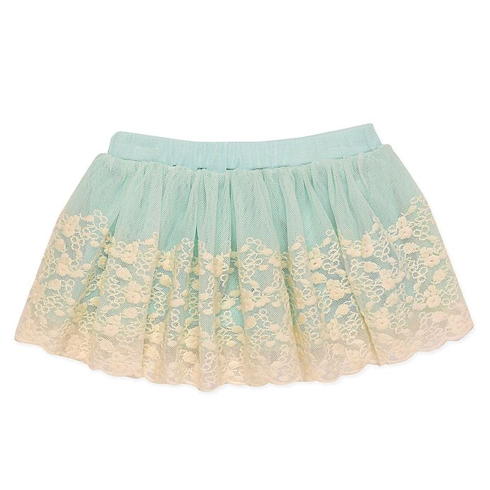 Alternate image 1 for Baby Starters® Tutu Skirt with Embroidered Lace Overlay in Mint