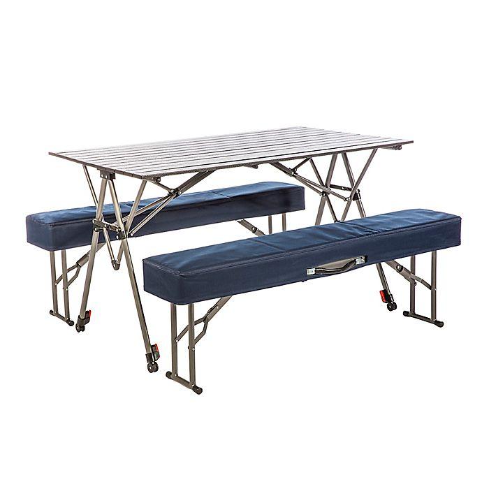 Stupendous Kamp Rite Kwik Set 3 Piece Folding Table And Benches Set In Machost Co Dining Chair Design Ideas Machostcouk