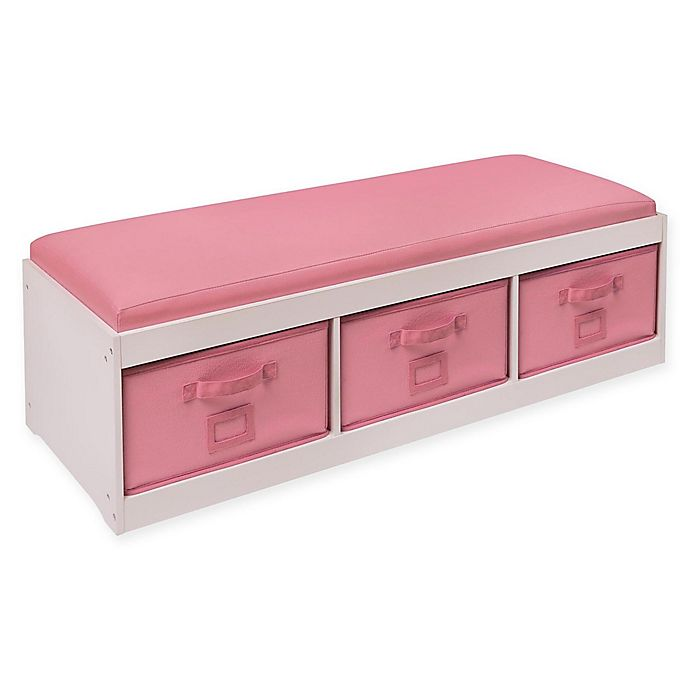 Alternate image 1 for Badger Basket Kid's Storage Bench with Cushion and 3 Bins