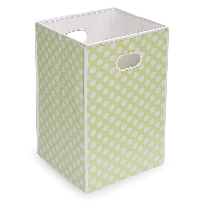 Alternate image 1 for Badger Basket Polka Dot Folding Hamper Storage Bin in Sage