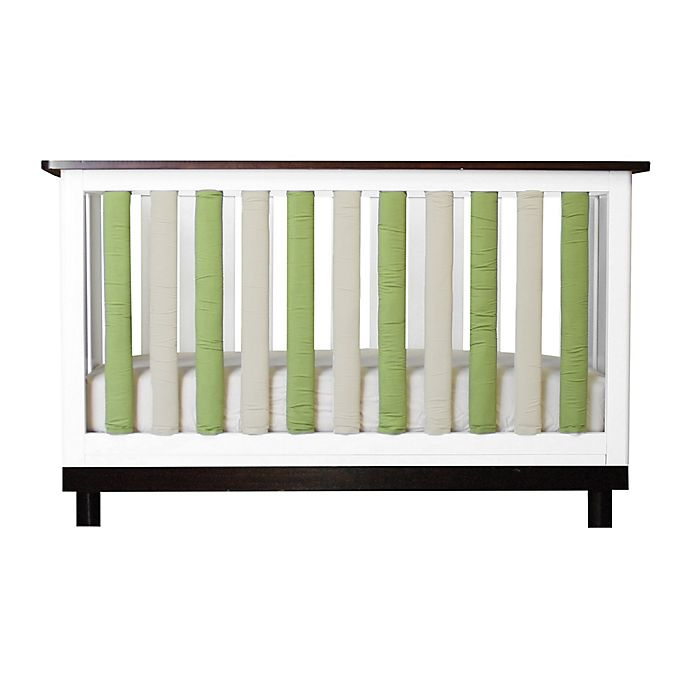 Alternate image 1 for Go Mama Go Designs® Pure Safety Vertical Crib Liners in Green/Khaki