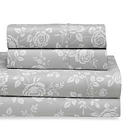 Home Collection Rose Twin Sheet Set in Light Grey