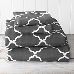 Great Bay Home Lattice Fleece Sheet Set