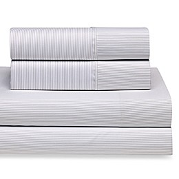Home Collection Pinstriped Twin Sheet Set in Light Grey